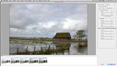 Interface de réglage d'une image fusionnée en HDR dans Photoshop